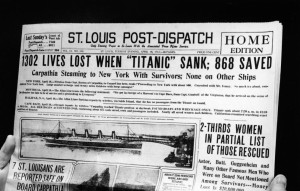 Newspaper Headline Of 'Titanic' Sinking