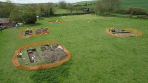 A Roman villa which was discovered by home owner Luke Irwin while laying electric cables in his garden at his Wiltshire farmhouse (Past Landscapes Project/PA)