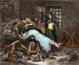 Madame de Brinvilliers being forced to ingest water prior to being beheaded in 1676. She was convicted of poisoning several members of her family in order to get their inheritances. --- Image by © Stefano Bianchetti/Corbis